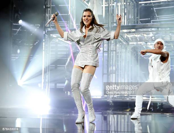 Hailee Steinfeld performs 'Let Me Go' onstage during the 2017 American Music Awards at Microsoft Theater on November 19 2017 in Los Angeles California