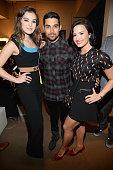 Hailee Steinfeld Wilmer Valderrama and Demi Lovato attend the 2015 iHeartRadio Music Festival at MGM Grand Garden Arena on September 19 2015 in Las...