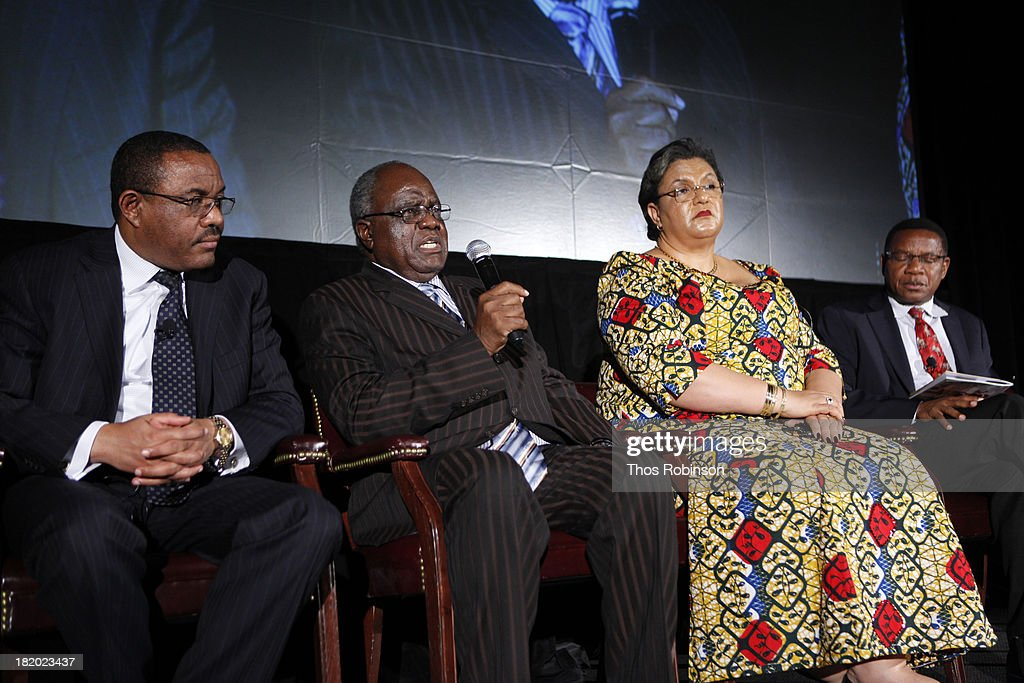 H.E. Hailemariam Dessalegn, Prime Minister of Ethiopia and Chair of the African Union; H.E. Hifikepunye Pohamba, President of Namibia; The Honorable Hannah Tetteh, Ghanas Minister for Foreign Affairs; and The Honorable Bernard Membe, Tanzanias Minister for Foreign Affairs attend Africa-America Institute 60th Anniversary Awards Gala at New York Hilton on September 25, 2013 in New York City.