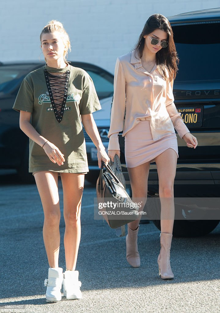 Hailey Baildwin and Kendall Jenner are seen on November 21 2015 in Los Angeles California