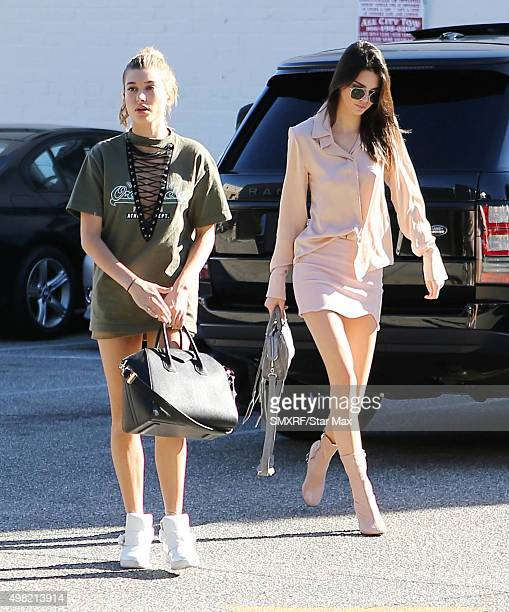 Hailey Baldwin and Kendall Jenner are seen on November 21 2015 in Los Angeles California