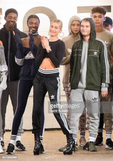 Hailey Baldwin and Rafferty Law attends Streets of EQT a fashion show celebrating street style at The Old Truman Brewery on September 15 2017 in...