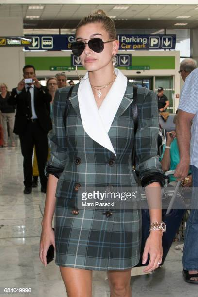 Hailey Baldwin arrives at Nice airport during the 70th annual Cannes Film Festival on May 17 2017 in Cannes France