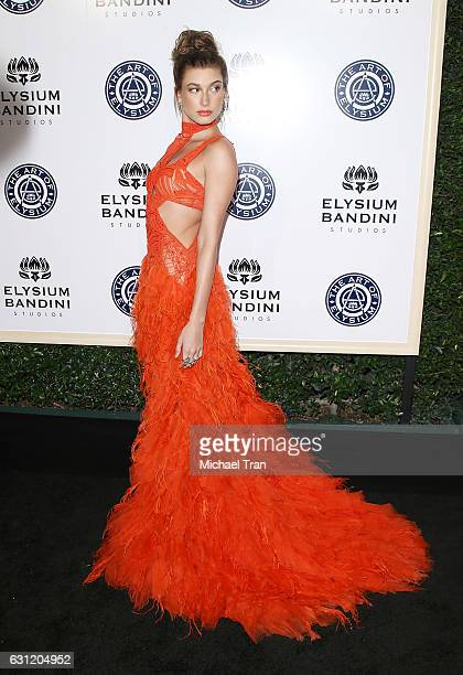 Hailey Baldwin arrives at The Art of Elysium celebrating the 10th Anniversary held at Red Studios on January 7 2017 in Los Angeles California