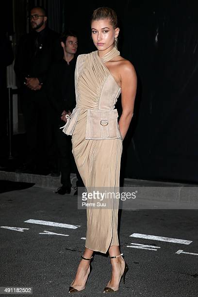 Hailey Baldwin arrives at Vogue 95th Anniversary Party as part of the Paris Fashion Week Womenswear Spring/Summer 2016 on October 3 2015 in Paris...