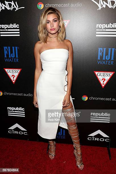 Hailey Baldwin attends a celebration with Republic Records and Guess after the 2016 MTV Video Music Awards at Vandal with cocktails by Ciroc on...