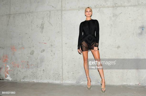 Hailey Baldwin attends Art Commerce The Exhibition opening at Skylight Modern on September 8 2017 in New York City