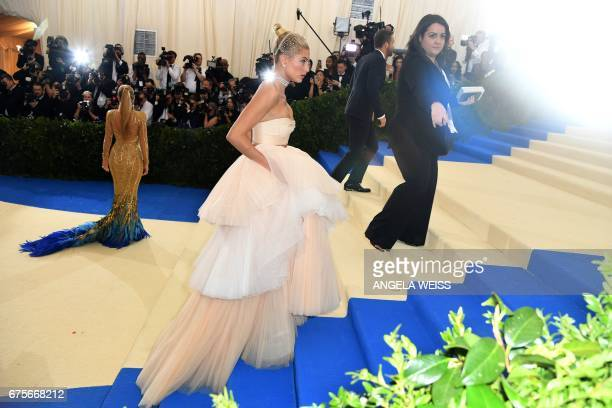 Hailey Baldwin attends the Costume Institute Benefit May 1 2017 at the Metropolitan Museum of Art in New York / AFP PHOTO / ANGELA WEISS