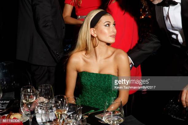 Hailey Baldwin attends the dinner at the amfAR Gala Milano on September 21 2017 in Milan Italy