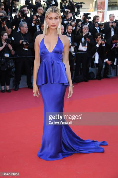 Hailey Baldwin attends the 'Ismael's Ghosts ' screening and Opening Gala during the 70th annual Cannes Film Festival at Palais des Festivals on May...