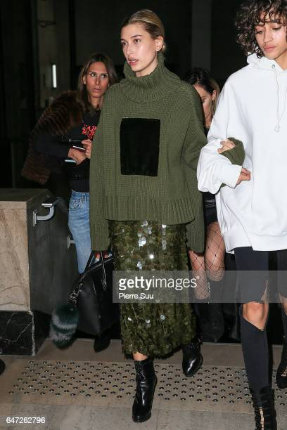Hailey Baldwin attends the OffWhite show as part of the Paris Fashion Week Womenswear Fall/Winter 2017/2018 on March 2 2017 in Paris France