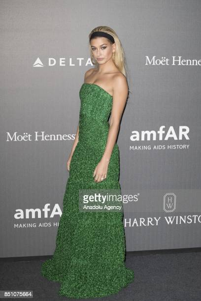 Hailey Baldwin attends the red carpet of amfAR Gala Milan at La Permanente in Milano Italy on September 2017