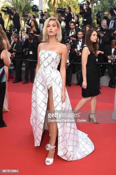 Hailey Baldwin attends the 'The Beguiled' screening during the 70th annual Cannes Film Festival at Palais des Festivals on May 24 2017 in Cannes...