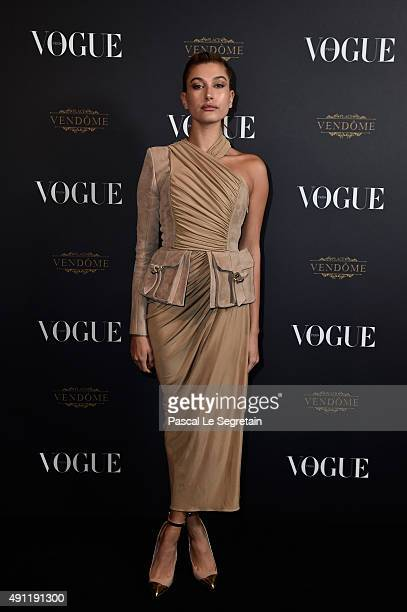 Hailey Baldwin attends the Vogue 95th Anniversary Party on October 3 2015 in Paris France