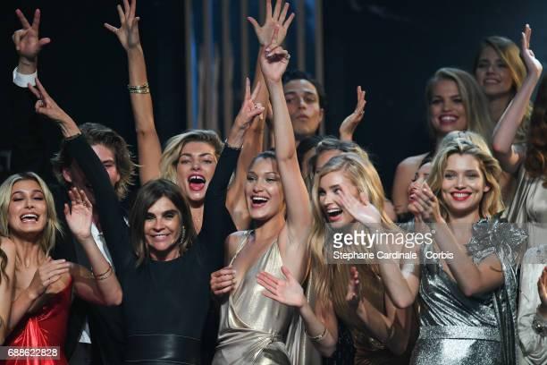 Hailey Baldwin Carine Roitfeld Bella Hadid Elsa Hosk and Hana Jirickova are seen on stage the amfAR Gala Cannes 2017 at Hotel du CapEdenRoc on May 25...