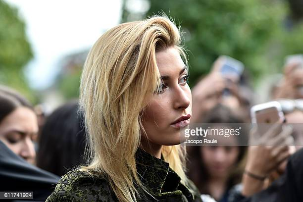 Hailey Baldwin is seen leaving the Elie Saab fashion show during Paris Fashion Week Spring/Summer 2017 on October 1 2016 in Paris France