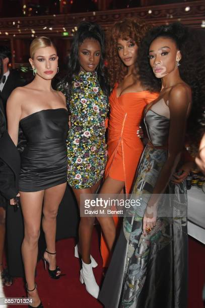 Hailey Baldwin Leomie Anderson Jourdan Dunn and Winnie Harlow attend The Fashion Awards 2017 in partnership with Swarovski after party at Royal...