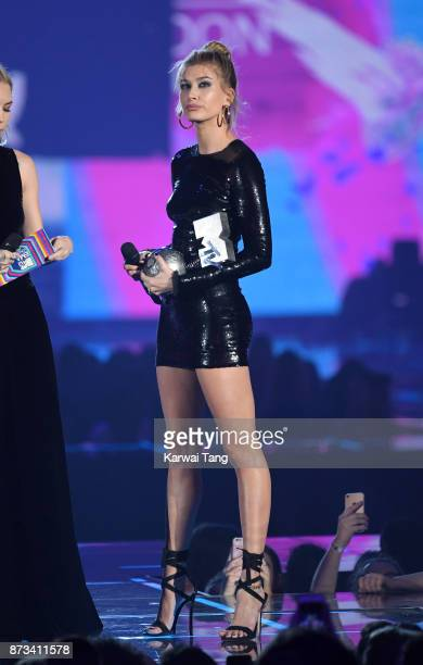 Hailey Baldwin on stage during the MTV EMAs 2017 held at The SSE Arena Wembley on November 12 2017 in London England
