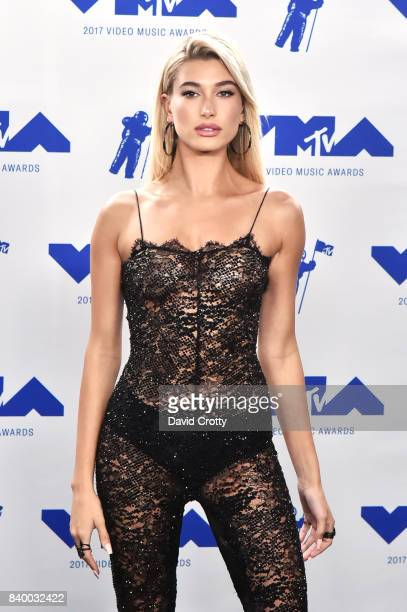 Hailey Baldwin poses in the press room during the 2017 MTV Video Music Awards at The Forum on August 27 2017 in Inglewood California
