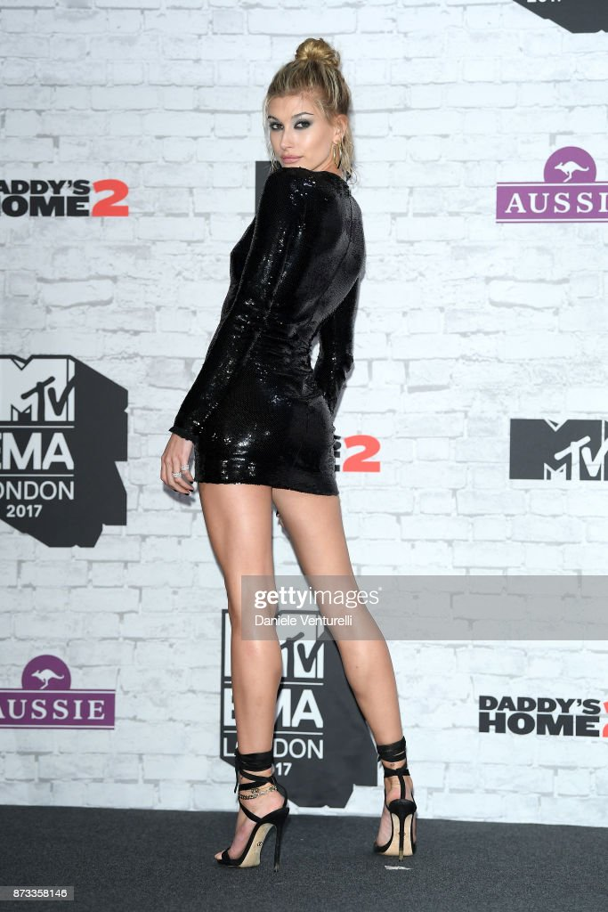 Hailey Baldwin poses in the winner's room during the MTV EMAs 2017 held at The SSE Arena, Wembley on November 12, 2017 in London, England.