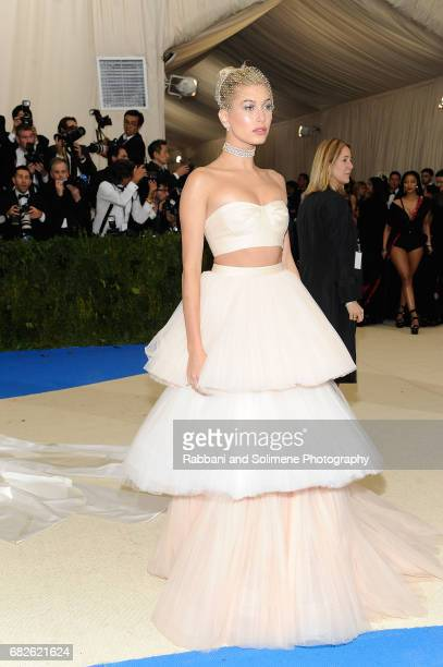 Hailey Baldwin 'Rei Kawakubo/Comme des Garcons Art Of The InBetween' Costume Institute Gala Arrivals at Metropolitan Museum of Art on May 1 2017 in...