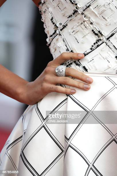Hailey Baldwin ring detail attends the 'The Beguiled' screening during the 70th annual Cannes Film Festival at Palais des Festivals on May 24 2017 in...