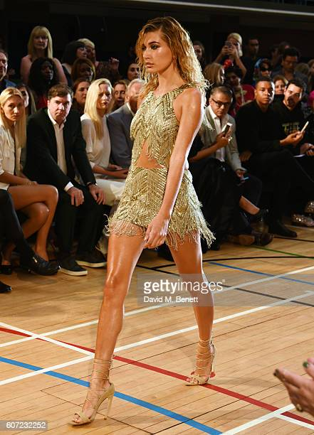 Hailey Baldwin walks the catwalk at the Julien Macdonald runway show during London Fashion Week Spring/Summer collections 2017 on September 17 2016...