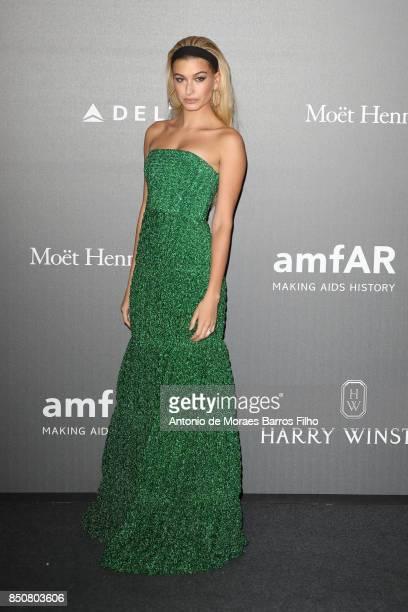 Hailey Baldwin walks the red carpet of amfAR Gala Milano on September 21 2017 in Milan Italy