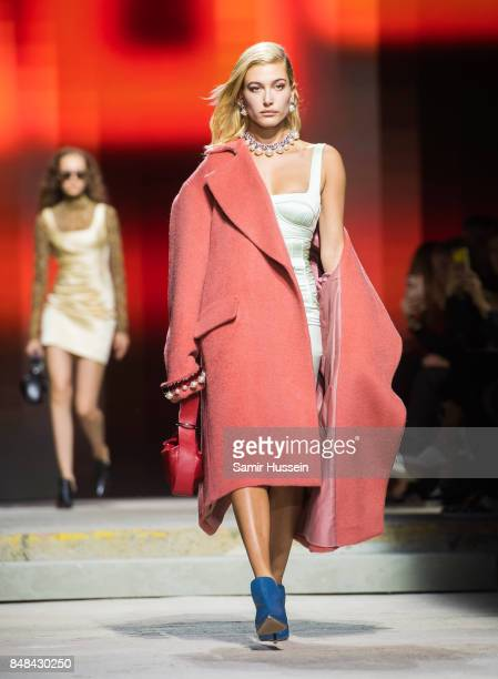 Hailey Baldwin walks the runway at the TOPSHOP show during London Fashion Week September 2017 on September 17 2017 in London England