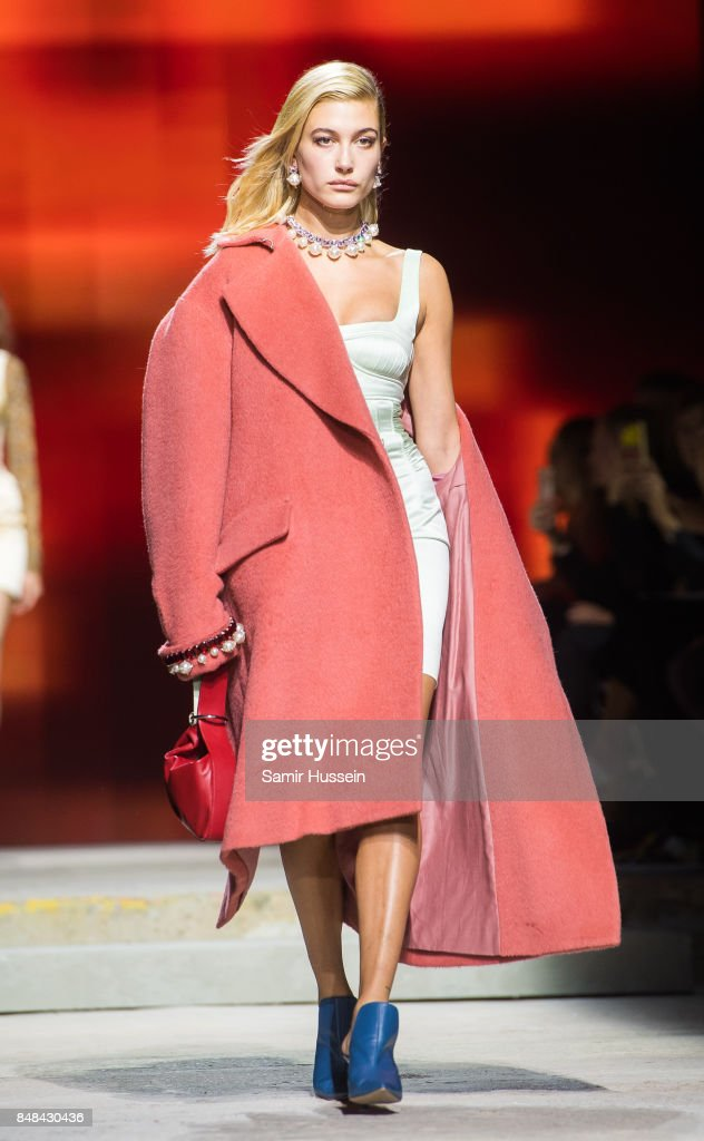 Hailey Baldwin walks the runway at the TOPSHOP show during London Fashion Week September 2017 on September 17, 2017 in London, England.