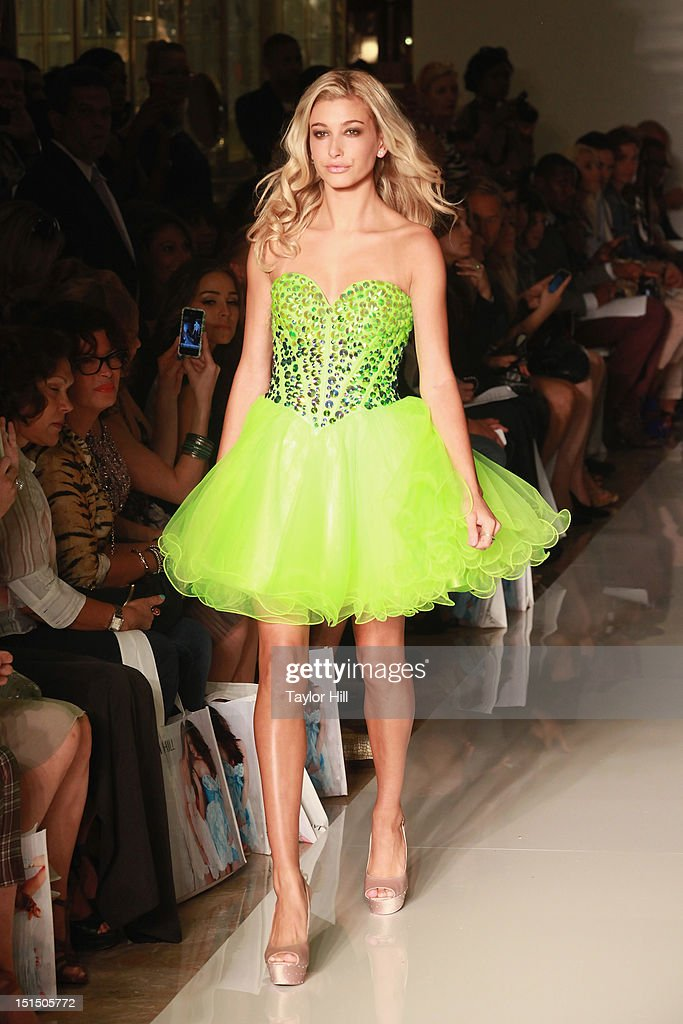 <a gi-track='captionPersonalityLinkClicked' href=/galleries/search?phrase=Hailey+Baldwin&family=editorial&specificpeople=5614657 ng-click='$event.stopPropagation()'>Hailey Baldwin</a> walks the runway during the Evening Sherri Hill spring 2013 fashion show during Mercedes-Benz Fashion Week at Trump Tower Grand Corridor on September 7, 2012 in New York City.
