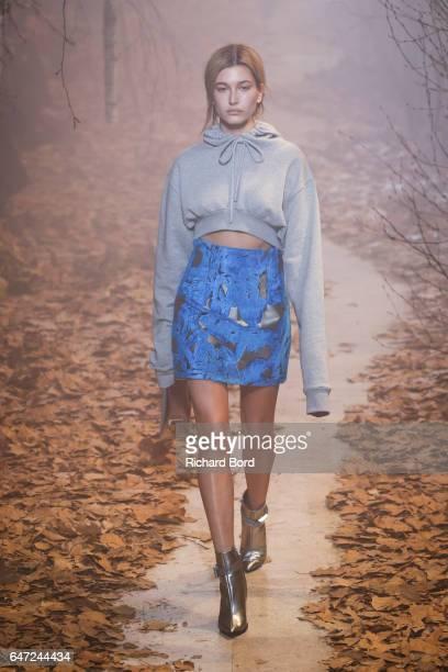 Hailey Baldwin walks the runway during the OffWhite show at Palais de Tokyo as part of the Paris Fashion Week Womenswear Fall/Winter 2017/2018 on...