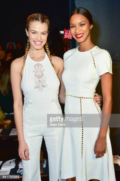 Hailey Clauson and Lais Ribeiro attend the Jonathan Simkhai show during New York Fashion Week at Skylight Clarkson Sq on February 11 2017 in New York...