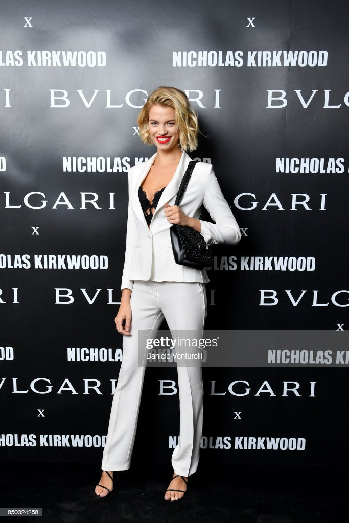 Hailey Clauson attends a party celebrating 'Serpenti Forever' By Nicholas Kirkwood for Bvlgari on September 20, 2017 in Milan, Italy.