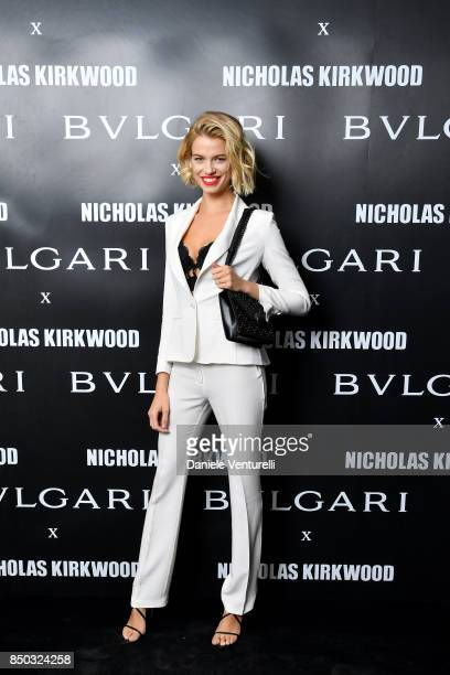 Hailey Clauson attends a party celebrating 'Serpenti Forever' By Nicholas Kirkwood for Bvlgari on September 20 2017 in Milan Italy