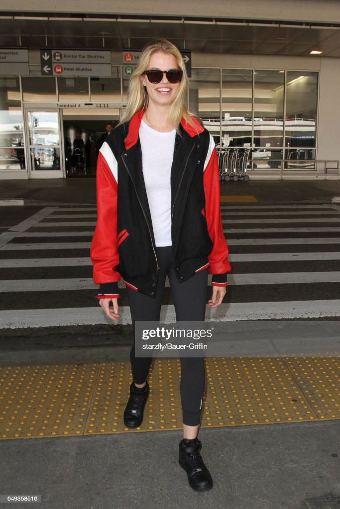 Hailey Clauson is seen at LAX on March 07, 2017 in Los Angeles, California.