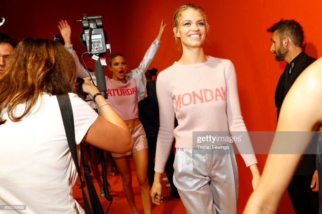 Hailey Clauson is seen backstage ahead of the Alberta Ferretti show during Milan Fashion Week Spring/Summer 2018on September 20, 2017 in Milan, Italy.