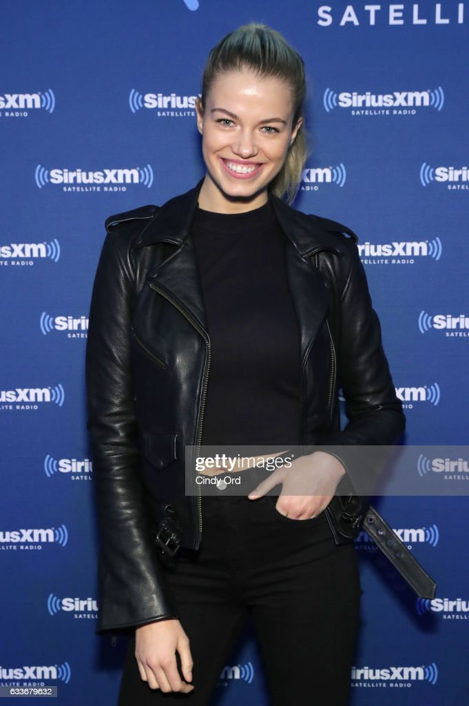Hailey Clauson visits the SiriusXM set at Super Bowl LI Radio Row at the George R. Brown Convention Center on February 3, 2017 in Houston, Texas.