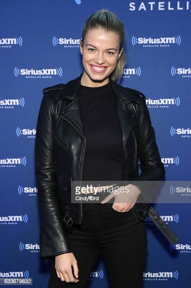 Hailey Clauson visits the SiriusXM set at Super Bowl LI Radio Row at the George R Brown Convention Center on February 3 2017 in Houston Texas