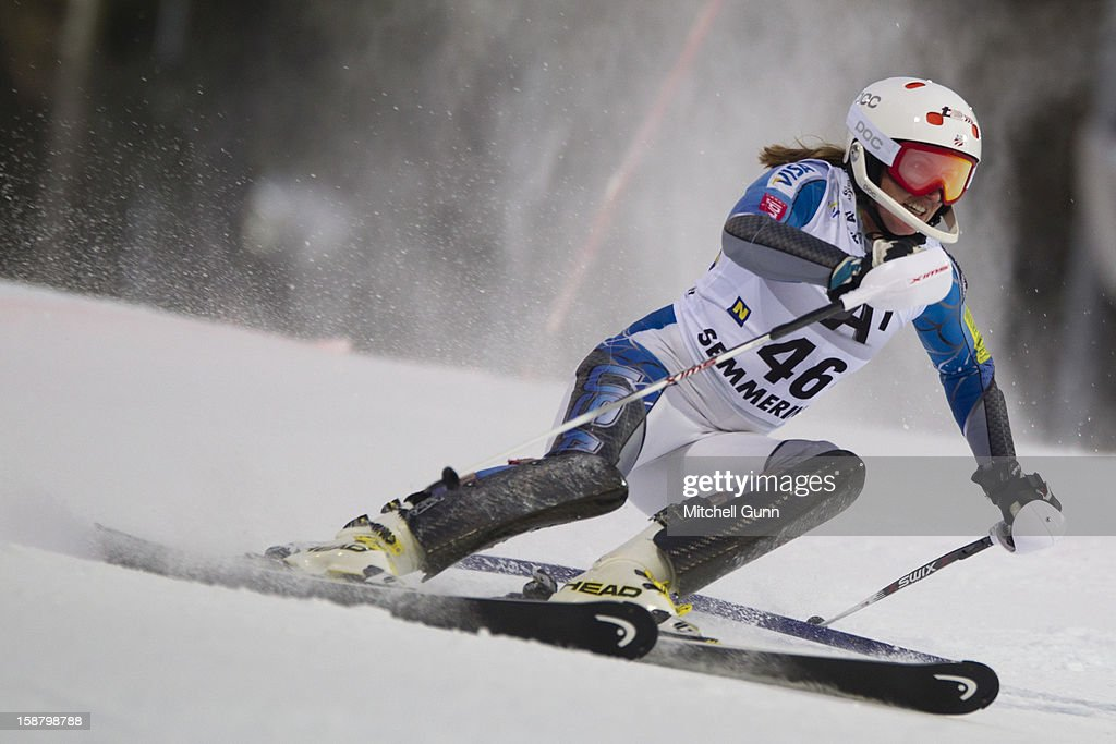 Hailey Duke of the USA races down the course whilst competing in the Audi FIS Alpine Ski World Cup Slalom Race on December 29, 2012 in Semmering, Austria.