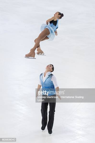 Hailey Esther Kops and Artem Tsoglin of Israel compete during the Junior Pairs Short Program on day one of the ISU Junior Grand Prix of Figure...