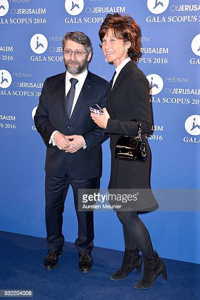 Haim Korsia and Sylvie Rousseau attend the Scopus gala photocall at Pavillon Vendome on May 18 2016 in Paris France