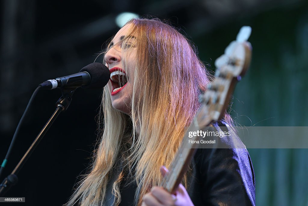 Haim perform live on stage during the Laneway Festival on January 27 2014 in Auckland New Zealand