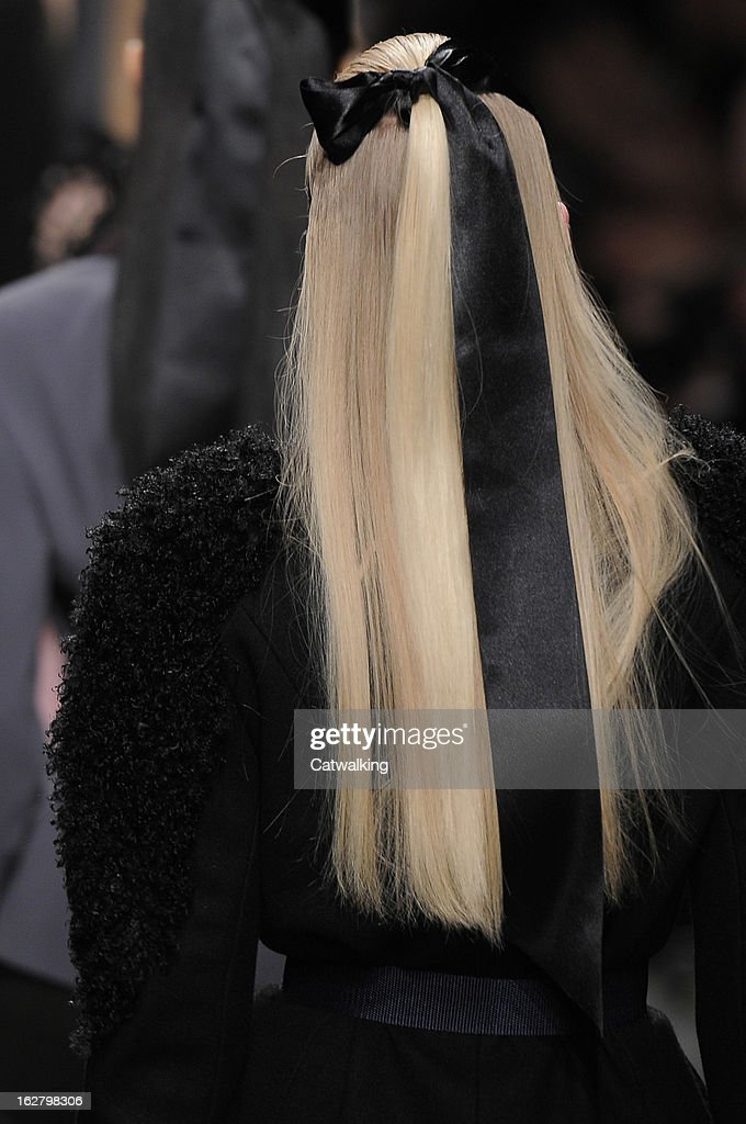 Hair and beauty detail on the runway at the Alexis Mabille Autumn Winter 2013 fashion show during Paris Fashion Week on February 27, 2013 in Paris, France.