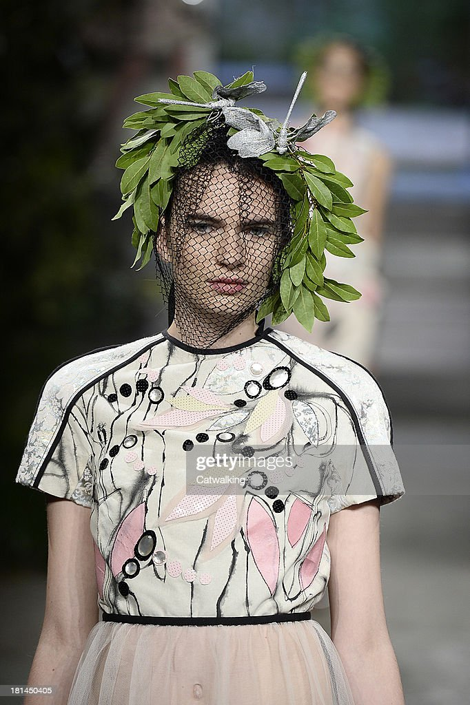 Hair and beauty detail on the runway at the Antonio Marras Spring Summer 2014 fashion show during Milan Fashion Week on September 20, 2013 in Milan, Italy.