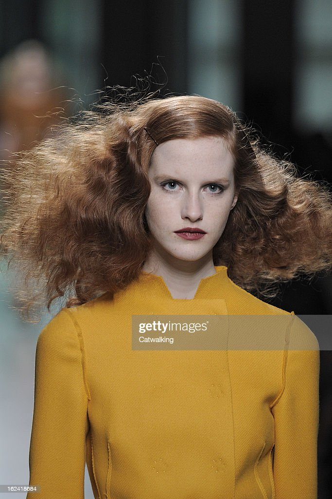 Hair and beauty detail on the runway at the Bottega Veneta Autumn Winter 2013 fashion show during Milan Fashion Week on February 23, 2013 in Milan, Italy.