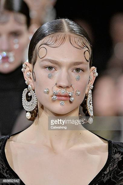 Hair and Beauty detail on the runway at the Givenchy Autumn Winter 2015 fashion show during Paris Fashion Week on March 8 2015 in Paris France