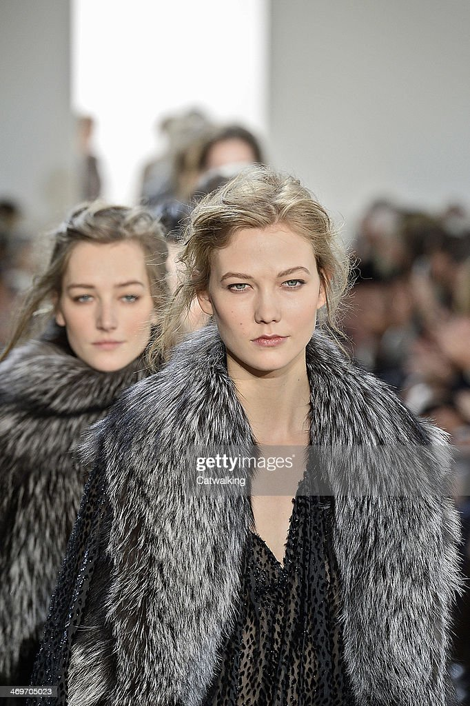 A hair and beauty detail on the runway at the Michael Kors Autumn Winter 2014 fashion show during New York Fashion Week on February 12, 2014 in New York, United States.