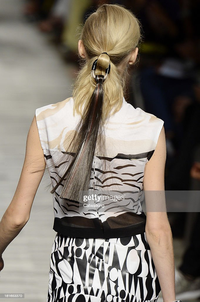 Hair and beauty detail on the runway at the Missoni Spring Summer 2014 fashion show during Milan Fashion Week on September 22, 2013 in Milan, Italy.