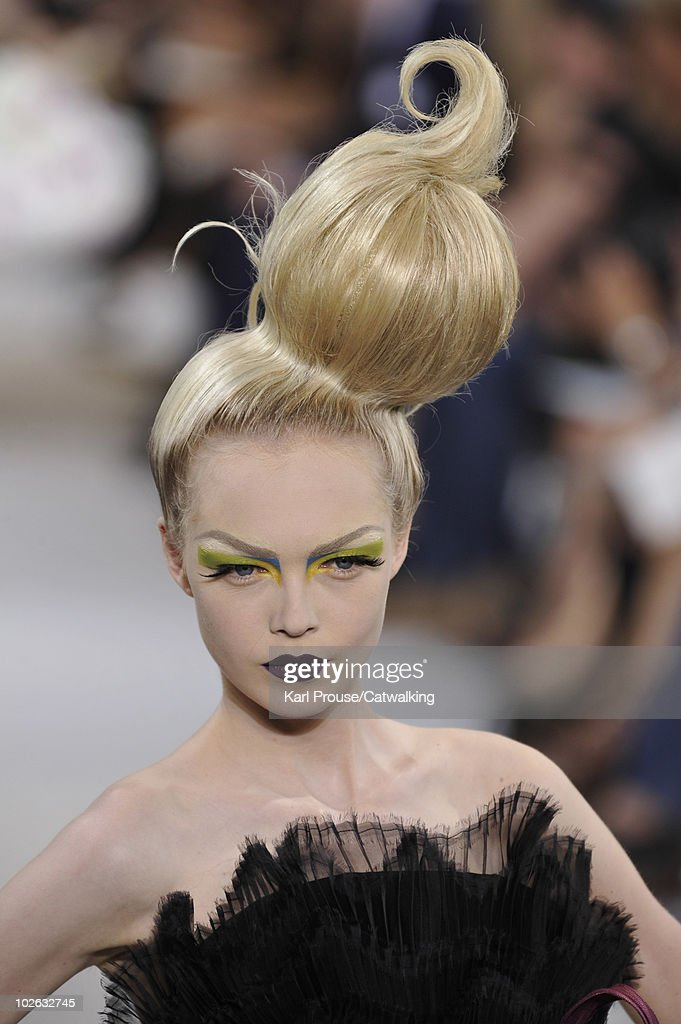 Hair and Beauty detail on the runway during the Christian Dior fashion show at Paris Haute Couture Fashion Week for Autumn Winter 2010 on July 5, 2010 in Paris, France.